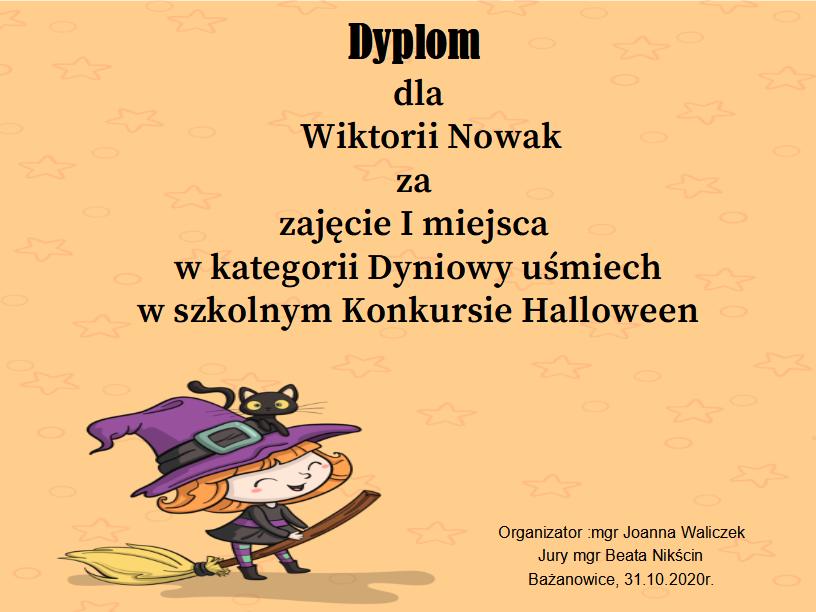 Ogłoszenie wyników szkolnego Konkursu Halloween.